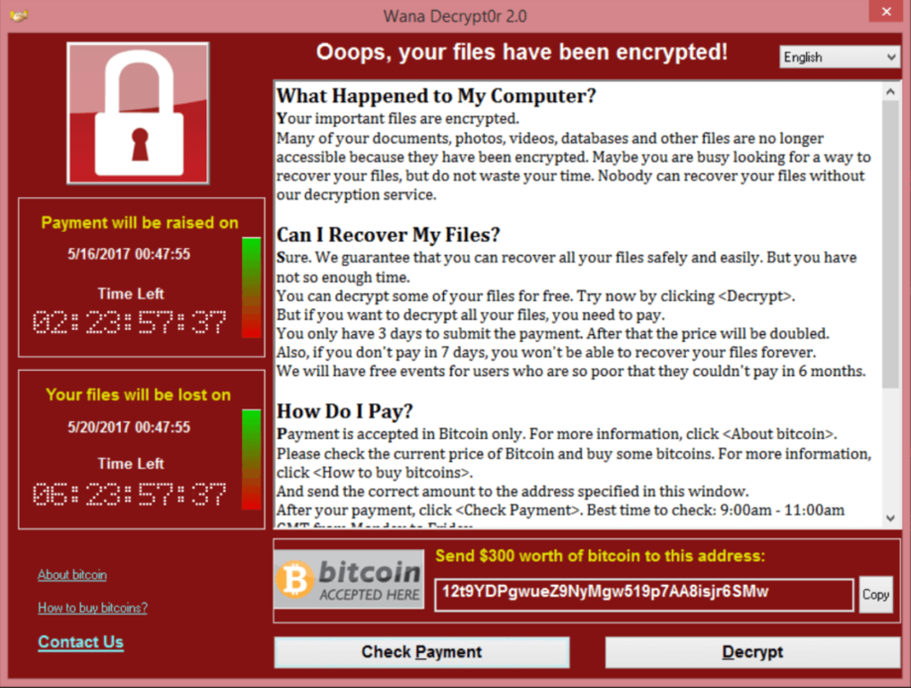 Wannacry: Screenshot